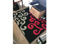 Red Grey and Black Rug