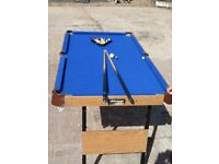 """Folding mini pool table & balls/cues for sale (4ft6""""table) - excellent condition"""