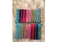 As new -Velvet stripe rainbow decoration cushions