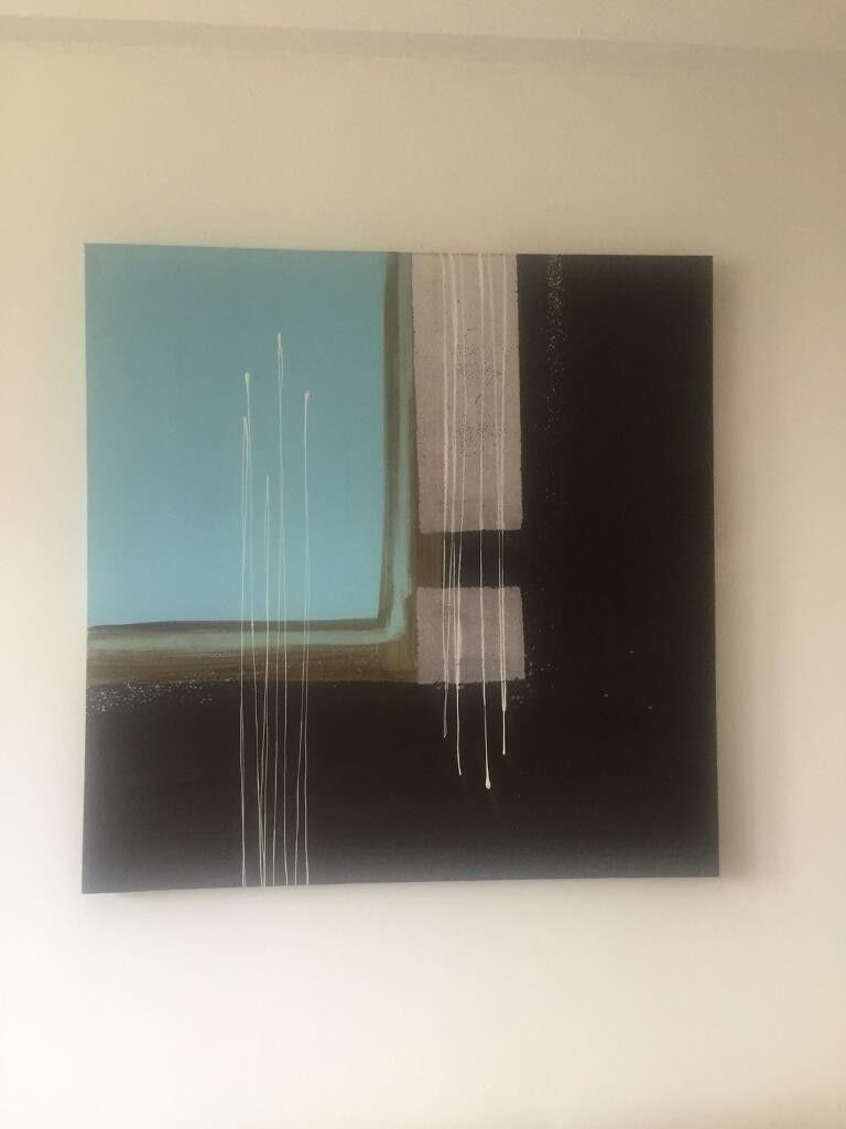 Canvas beautiful art wall hanging oil painting kt1 3nl from john lewis serene turquoise black silver