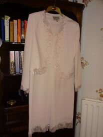 Ladies classical silk like pale pink dress and jacket by Catherine's of Partick.