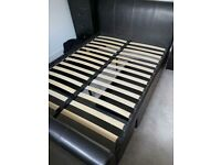 Brown leather double bed frame and headboard