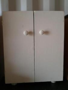 Oakville Small Accessory Cupboard Closet Shabby Chic Storage Vintage Mid-Century Handmade Solid Wood White