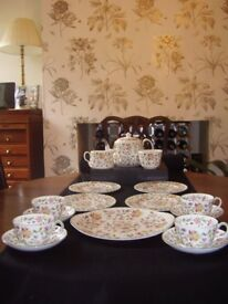 Minton Haddon Hall 16pce Tea Service. As New Never Used.