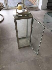 Glass lantern with chrome frame
