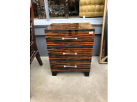 Maglassa Small Chest of Drawers/ Bedside Chest , good quality and condition . Glass front and top..