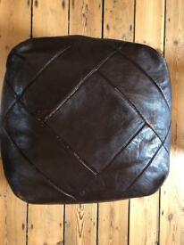 Brown leather/faux pouffe, footstool, foot rest