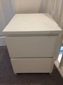 Ikea two drawer bedside table white
