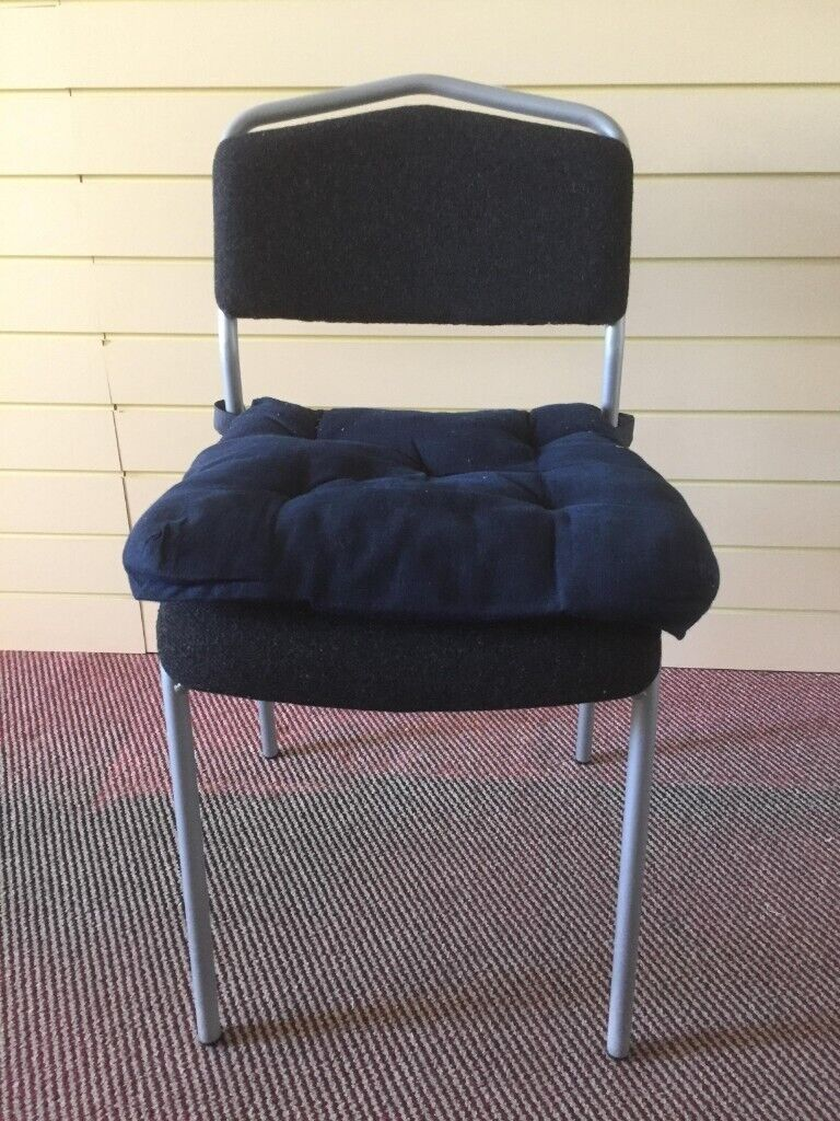 6 X Ikea Metal Frame Dining Chairs With Padded Backs And Removable Seat Cushions