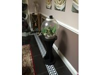 LIGHTED FISH TANK GLOBE AND EQUIPMENT PLUS STAND