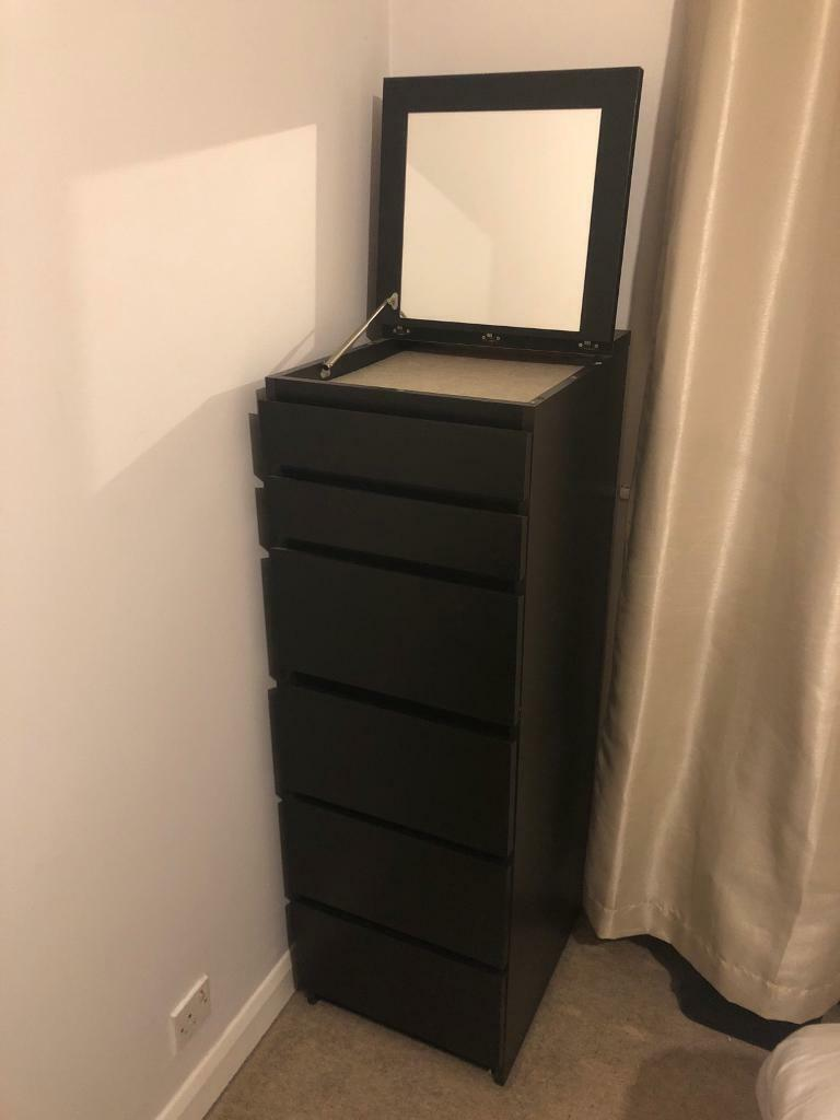 Ikea Tall Chest Of Drawers With Flip Up Mirrored Lid