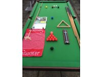 Snooker table 6' x 3', cues, balls, triangle, rest, scoreboard, towel, snooker instructions