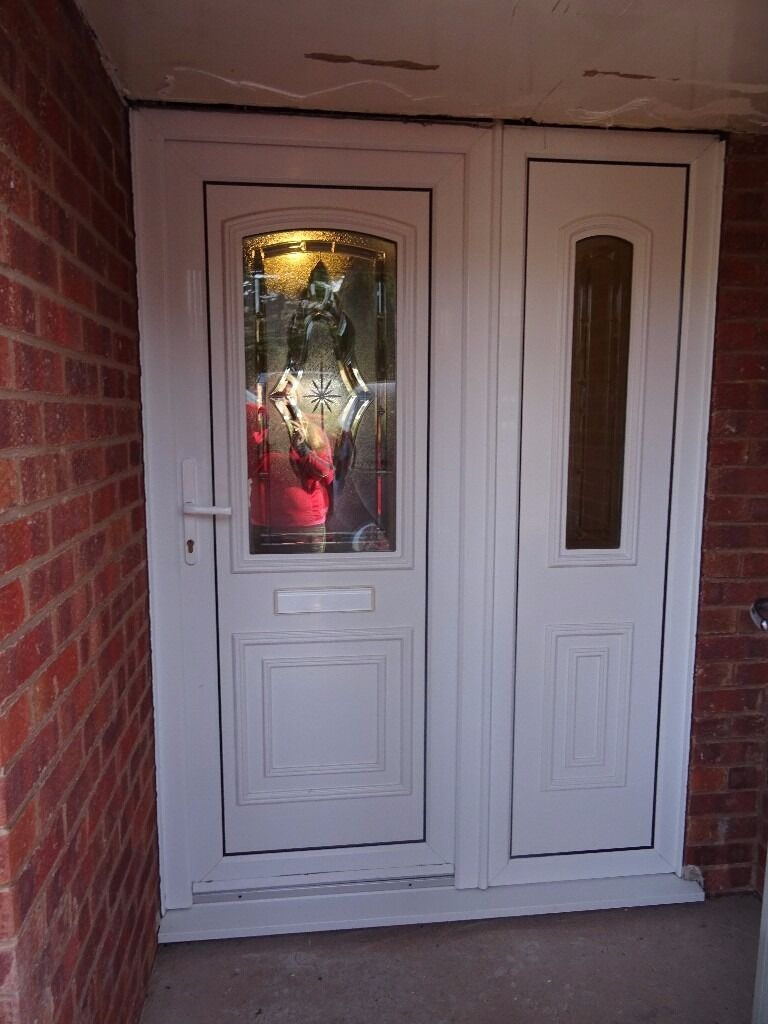 White upvc front door side panel and frame in carlton for Side doors for houses