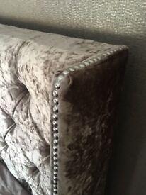 Mink crushed velvet king size bed frame