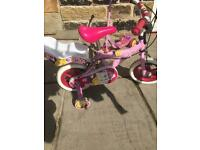Girls Pink Silverfox Bike with doll holder and stabilisers