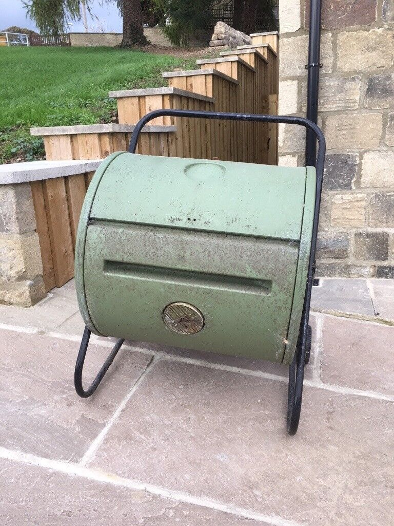 Drum compost bin for sale. Revolving drum type on stand and with wheels