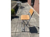 IKEA folding bar stool ply wood and grey metal