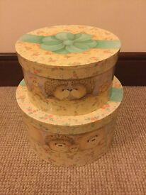 """2 """"paws for thought """" hat box style storage boxes (could be collectable)"""