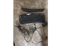 Black Microsoft Computer Keyboard, Skype Camera, Hand Rest & Mouse Complete With Cables