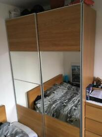 Ikea pax double mirrored wardrobe