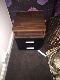 Black high gloss and walnut bedside cabinets