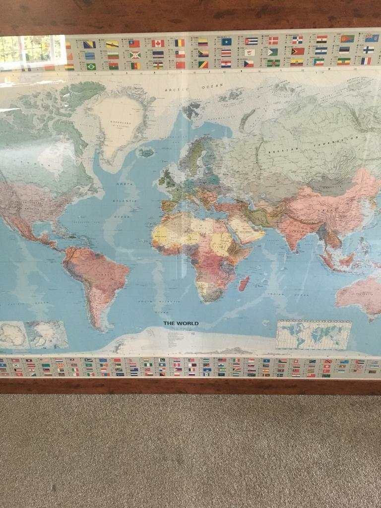 Large World Map Framed.Very Large World Map Framed In Norwich Norfolk Gumtree