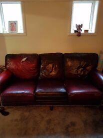 free leather sofa - 7ft 5 x 3ft 3 x2ft 10 high brownoxblood one cushion has a small tear