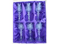 Vintage Bohemian Cut Lead Crystal Sherry Glasses (box of 6)