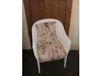 Vintage Lloyd Loom Style Bedroom Chair & Cushion Wicker Armchair Retro Mid Century LAURA ASHLEY