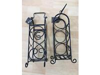 Pair of 3 bottle Wine Rack hand made Black