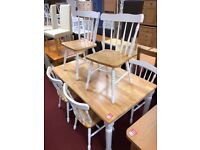 Solid wood Table and 6 Slatted Wooden Chairs