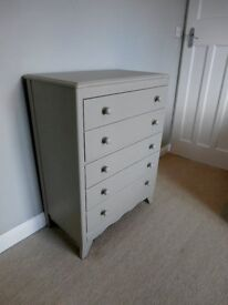 Chest of drawers vintage wooden painted beige grey eggshell