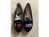 NEW ladies Christmas 'I love Santa' flat pumps from NEXT size 4...... 🎄🎄