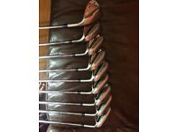 Taylor made speedblade irons 4- sw sldr driver and hybrid taylormade atv lob wedge and Nike bag