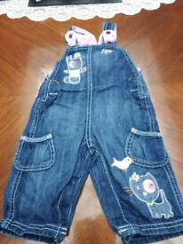 Baby girls dungarees 3-6mths