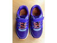 Kids Clarks Trainers. Size UK 8E/ EU 25.5. New and Unworn. Purple, Vegan with Velcro Fastening.