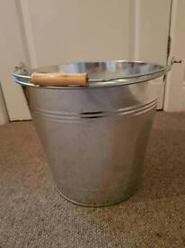 Large galvanised steel bucket