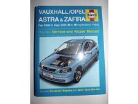 Haynes Workshop Manual For Vauxhall Astra & Zafira 98-00