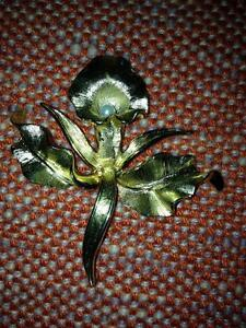 """Vintage 60's Boucher """"Flower of Month"""" November orchid pin + ear"""