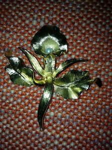 "Vintage 60's Boucher ""Flower of Month"" November orchid pin + ear"