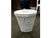 Linen Basket (wicker) lined with white cloth, includes lid, white