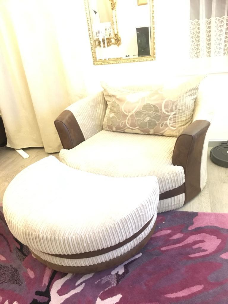 Large Swivel Round Cuddle Sofa Armchair With Matching Arched Footstool In Bradley Stoke Bristol Gumtree