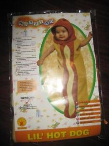 Baby Bunting Lil Hot Dog Infant Costume. 0-9 Month Boy / Girl. Little Halloween Costume. Fabric Fastener Headpiece. NEW