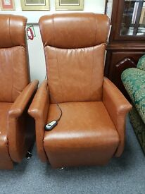Ex-display tan Relaxateeze swivel electric reclining chair on chrome feet
