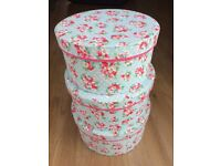 Set of 3 fabric covered hat boxes