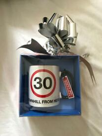 Gift wrapped 30th birthday mug