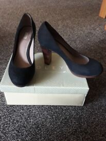 Radley navy leather court shoes