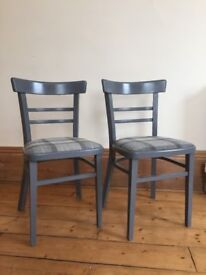 Pair of gorgeous vintage kitchen chairs - country style with Abraham Moon fabric cushions
