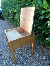 Vintage Old School Hinged Top Single Wood Childs Desk Circa 1960s 1970s Pen Tray