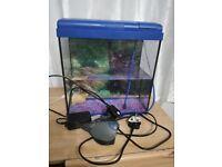 Tetra 22l Aquarium with LED light, sand, filter, air pump and crab